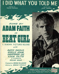 I Did What You Told Me - Adam Faith Sheet Music (PDF)
